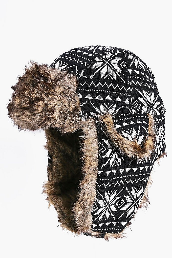 Fairisle Fur Lined Trapper