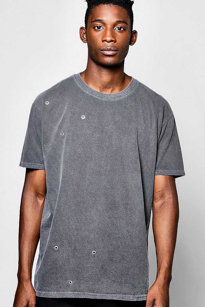 Oversized Washed T Shirt With Eyelets