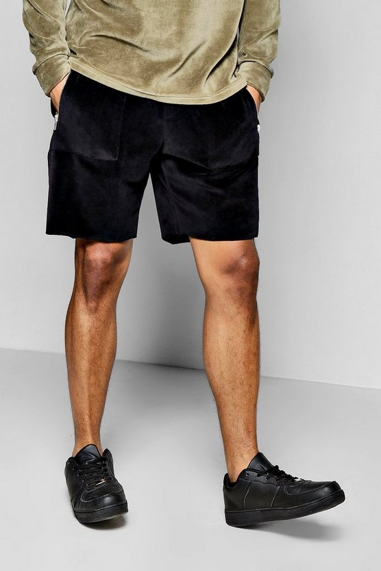 Raw Edge Velour Shorts