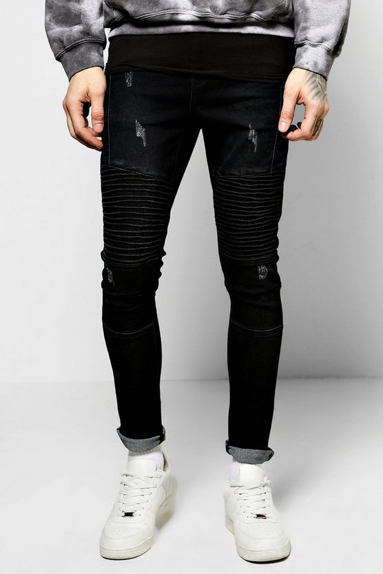 Skinny Ribbed Biker Jeans With Abrasions