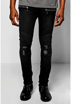 Super Skinny Biker Jeans With Zip Detail