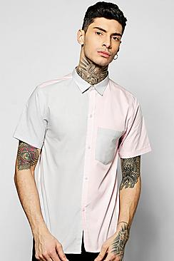 Short Sleeve Mixed Panel Shirt