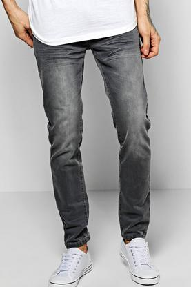 Skinny Fit Stone Washed Grey Fashion Jeans