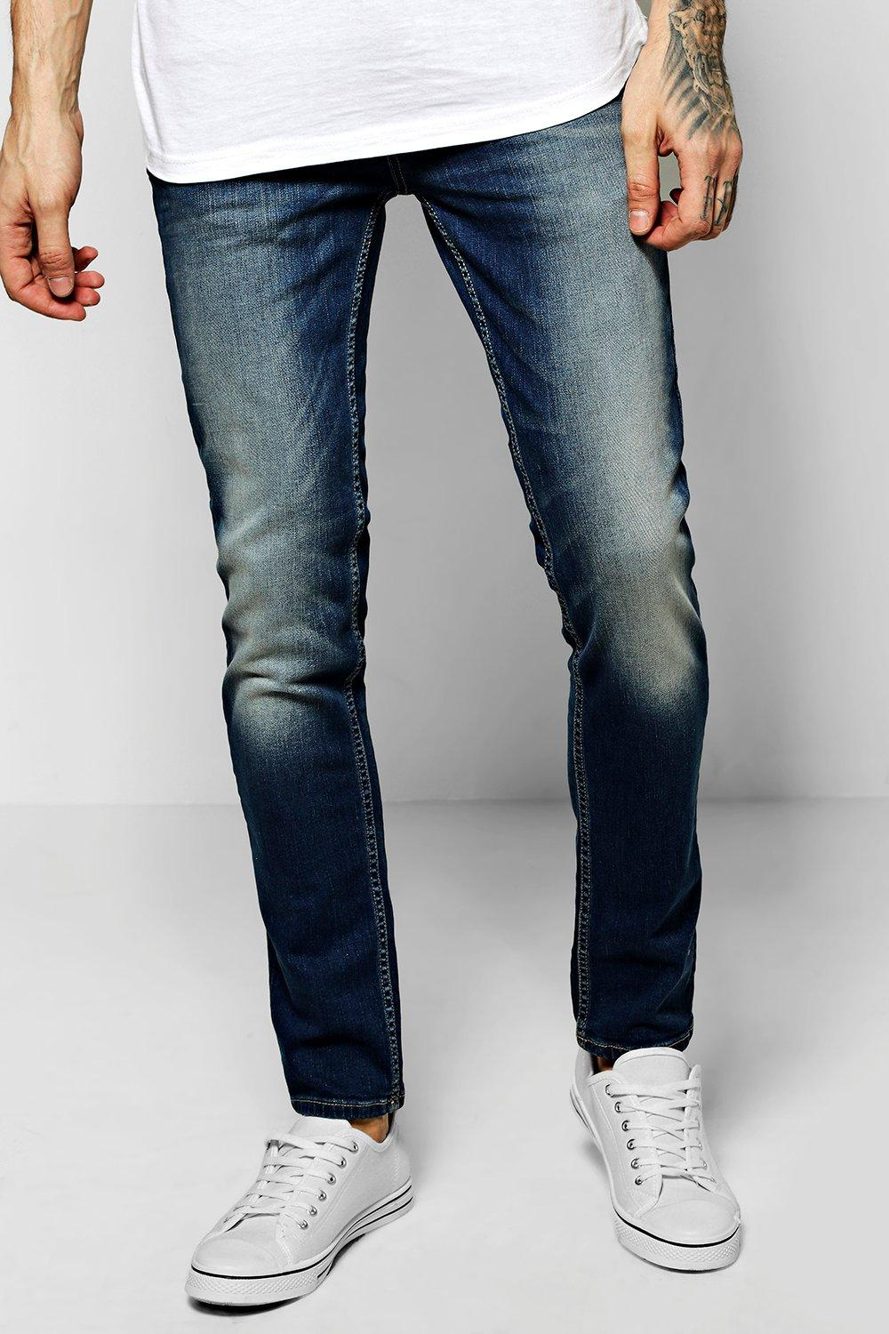 Skinny Fit Stone Washed Mid Blue Fashion Jeans