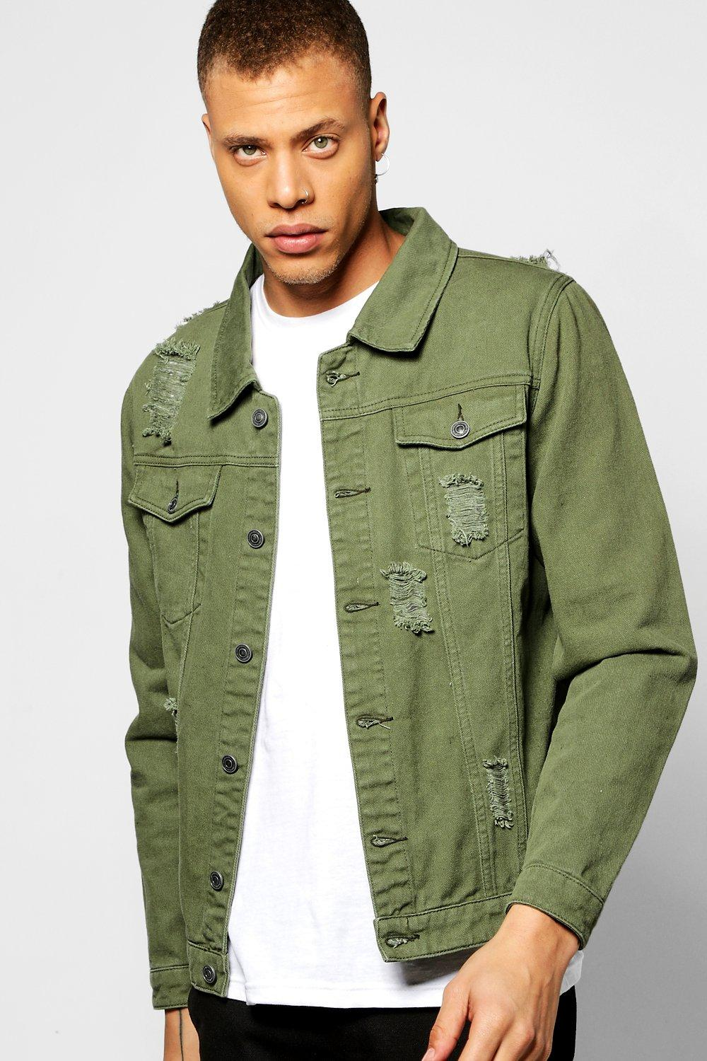 Khaki Denim Jacket with Abrasions | Boohoo