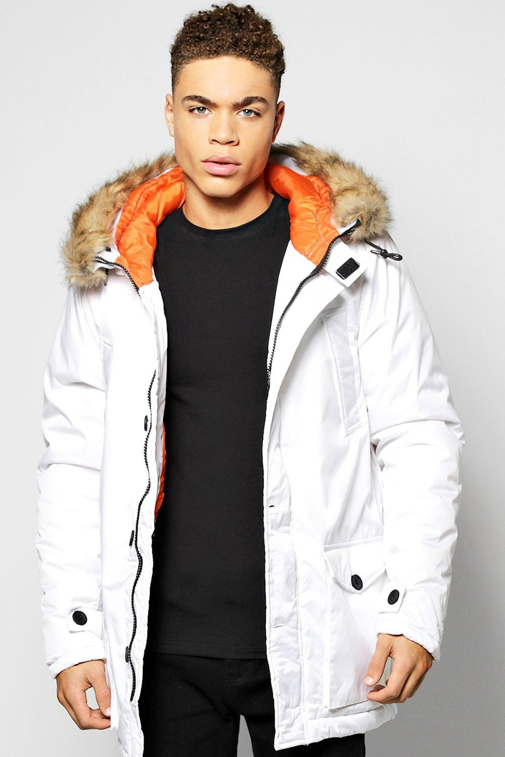 Longline Parka Jacket With Faux Fur Trim