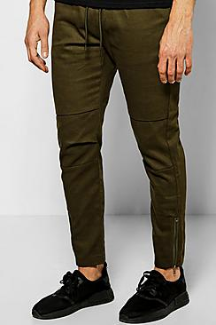 Skinny Fit Chinos With Rip Knee And Zips