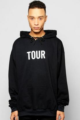 Oversized Tour Print Hoodie