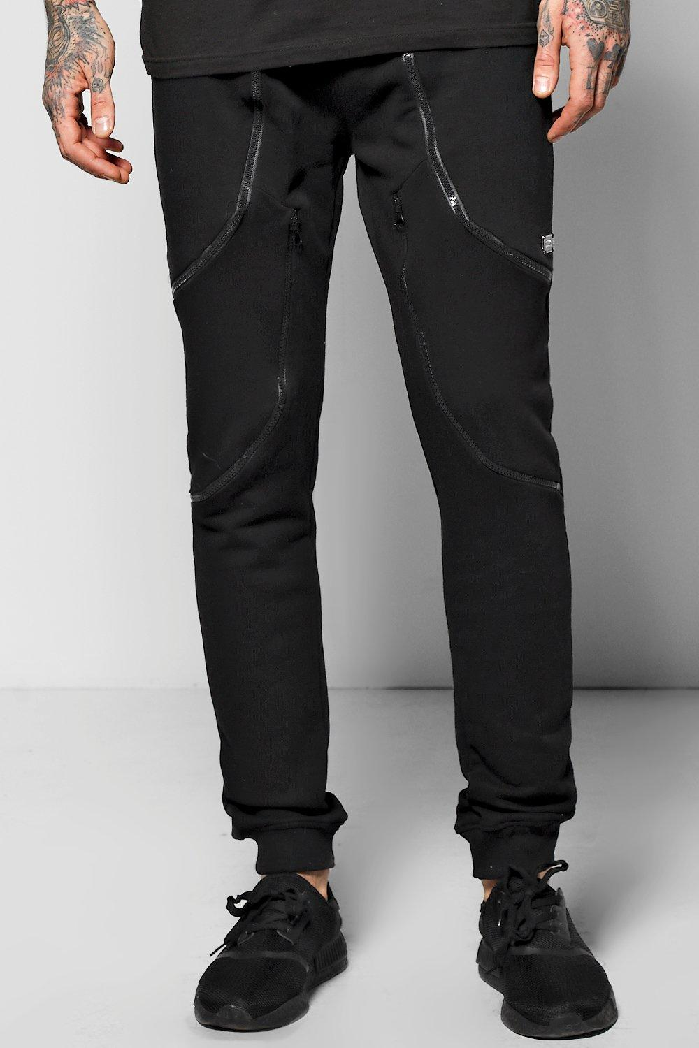 Skinny Fit Joggers With Zip Panels