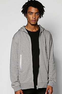 Zip Through Hoodie With Neck Trims