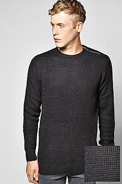 Fisherman Rib Jumper With Shoulder Zip