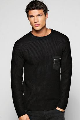 Fisherman Rib Jumper With Patch Pockets