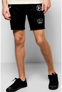 Skinny Fit Badge Denim Shorts
