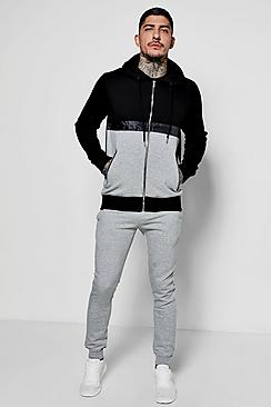 Colour Block Hoodie With Skinny Joggers