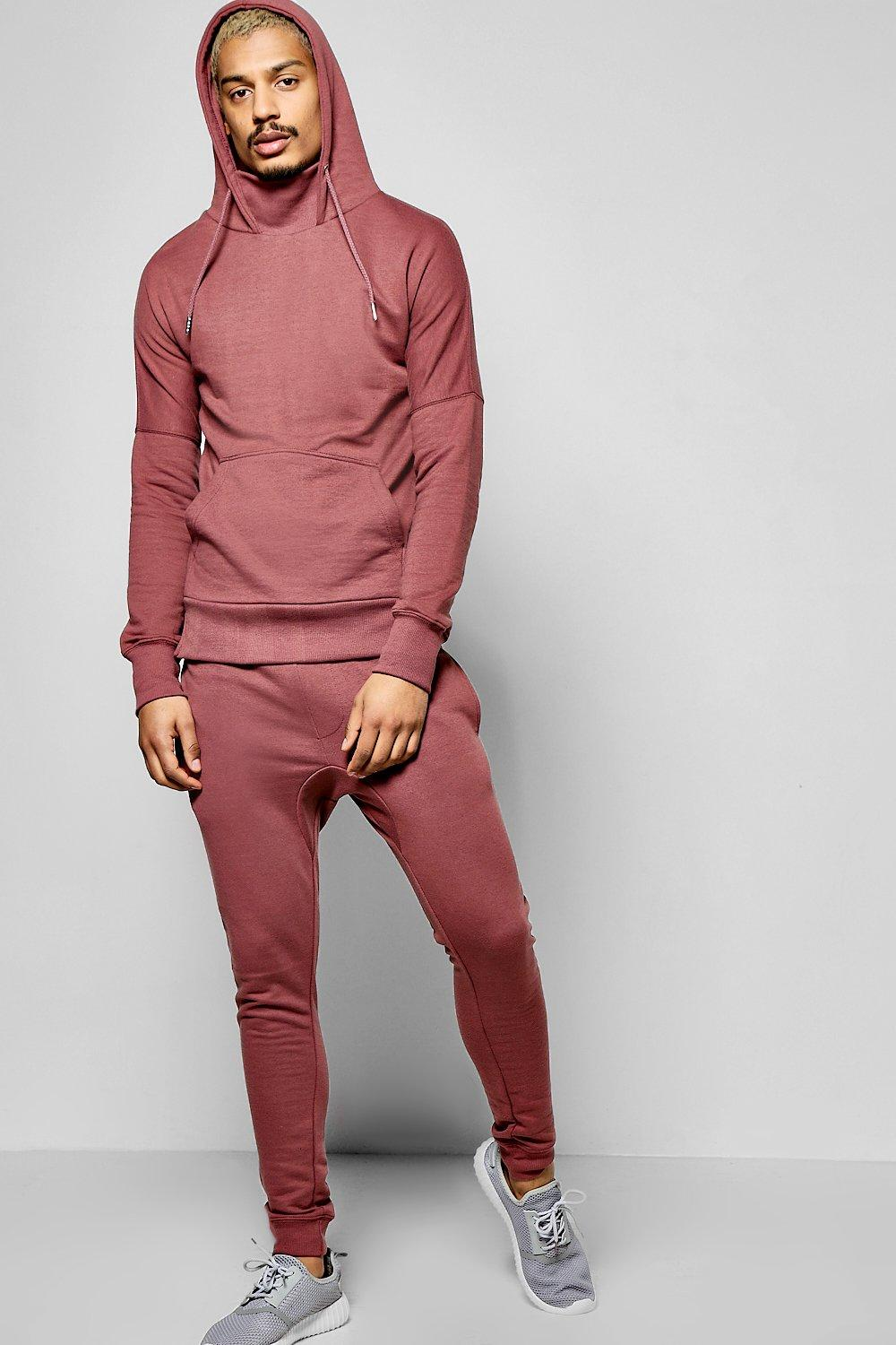 Neck Hooded Tracksuit With Skinny Joggers  pink