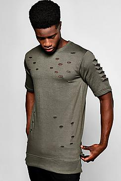 Short Sleeve Destoyed Sweatshirt