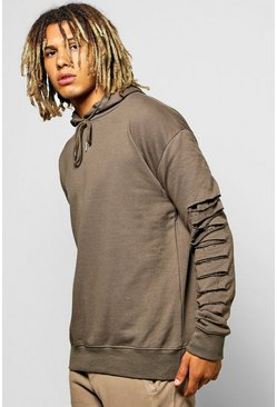 Oversized Destroyed Faux Layer Hoodie