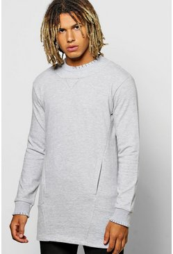 Longline Raw Edge Sweatshirt With Pockets