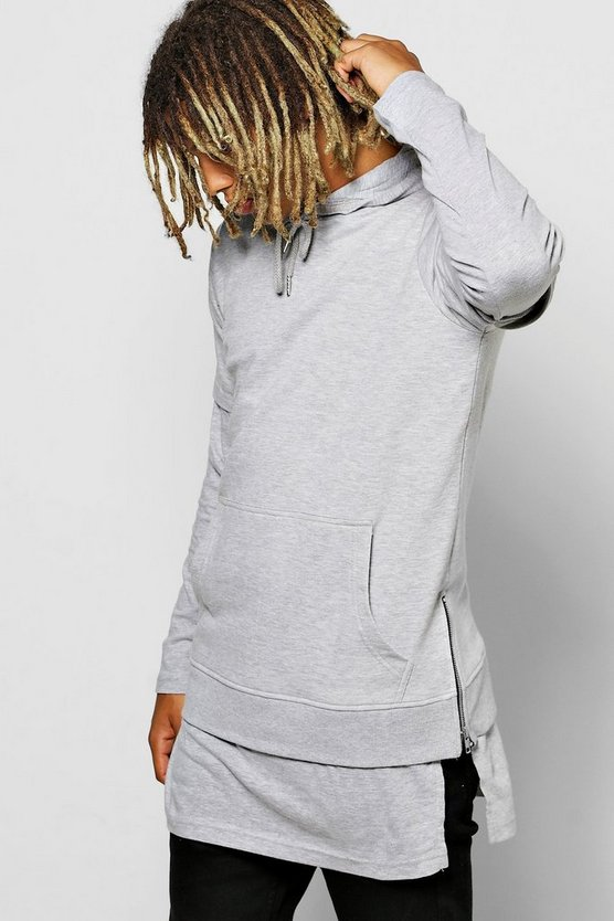 Longline Hoodie With Faux Layer & Zips
