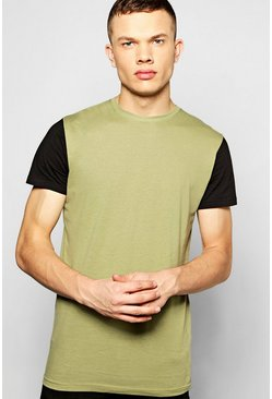Longline Contrast T Shirt With Step Hem