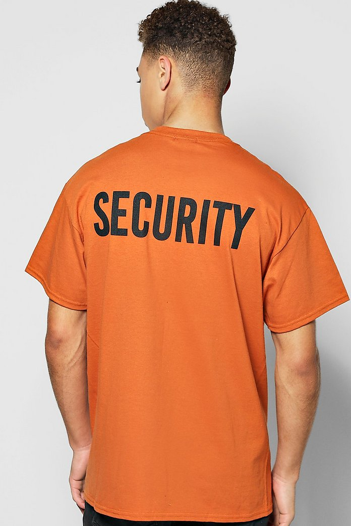 Oversized Security Back Print T Shirt