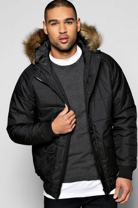 Quilted Zip Through Parka With Faux Fur Hood