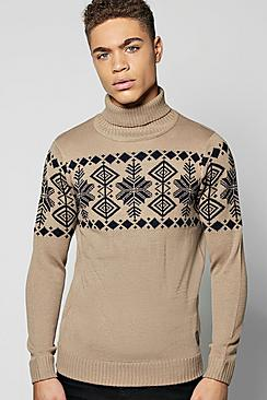 Fairisle Design Roll Neck Jumper