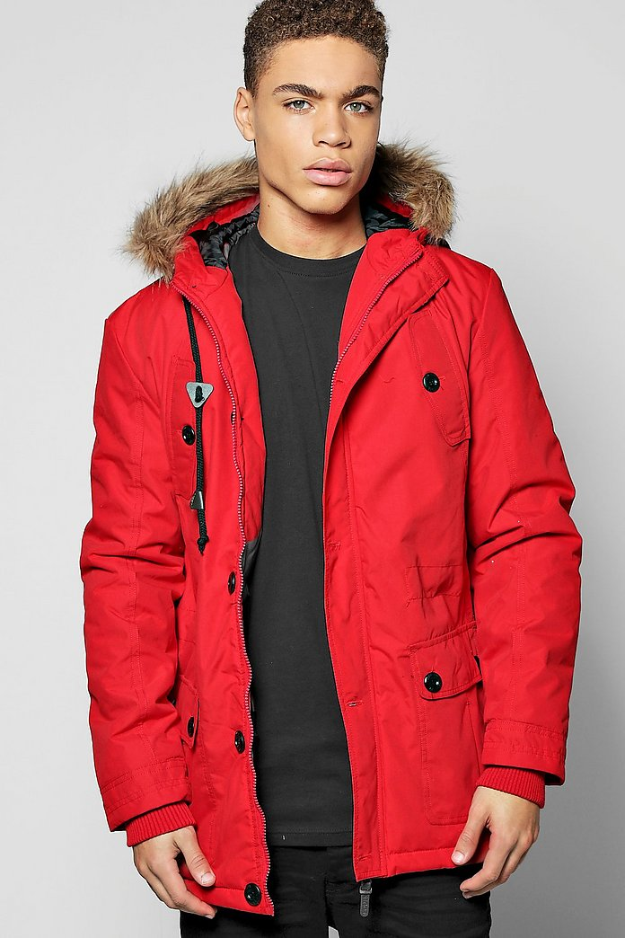 Multi Pocket Parka With Faux Fur Hood