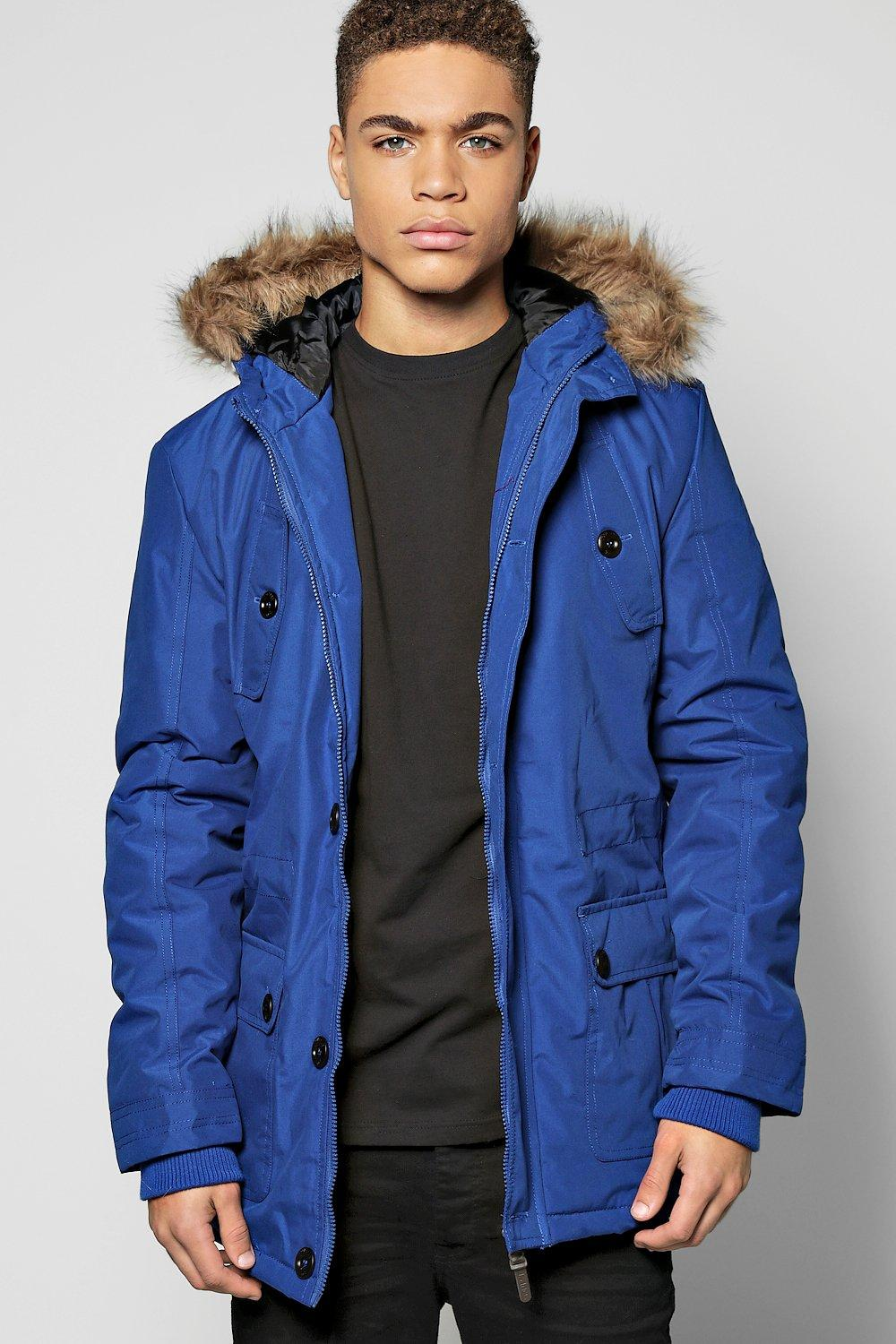 Pocket Parka With Faux Fur Hood  royal