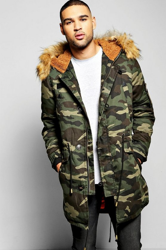 Camo Parka With Borg Lined Hood