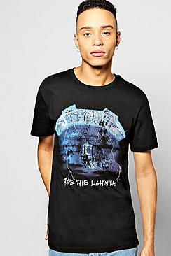 Longline Metallica Lightening T Shirt