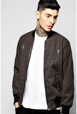 Smart Melton Bomber Jacket with Contrast Zip Detail