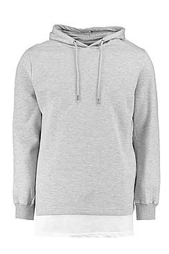 Longline Over The Head Hoodie With Extended Hem