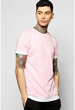 Longline T Shirt With Faux Hem