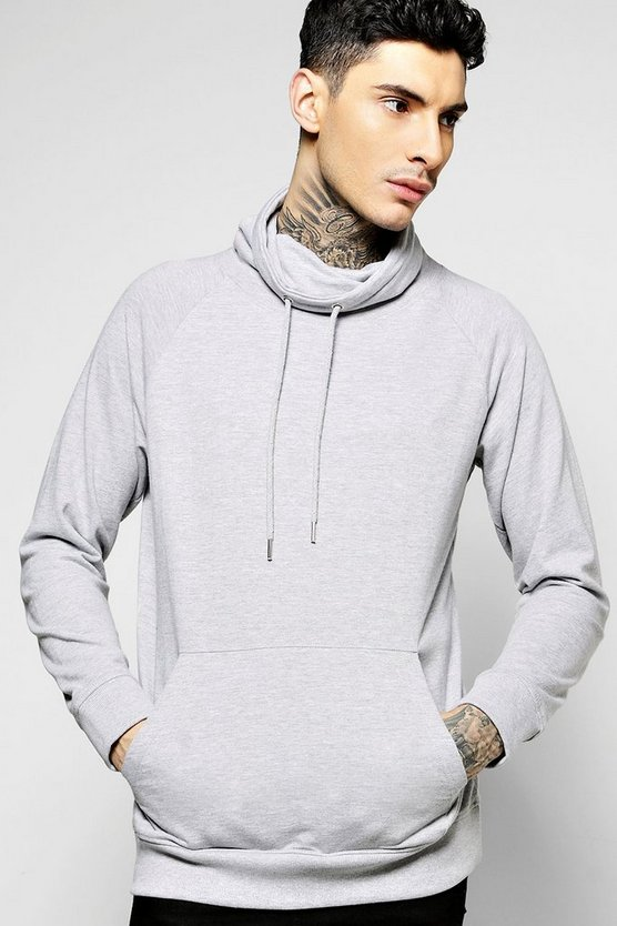 Funnel Neck Raglan Sweatshirt