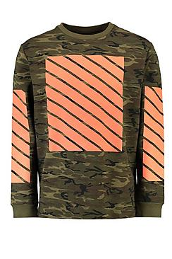 Lightweight Camo Sweat With Orange Print