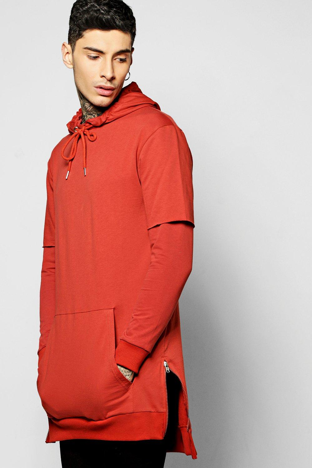 Faux Layer Longline Hoodie With Side Zips