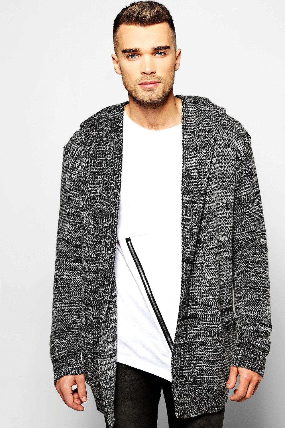 Longline Hooded Cardigan In Brushed Yarn