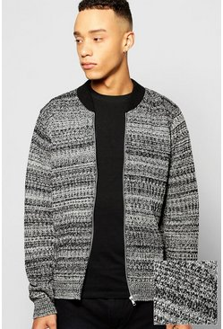 Mixed Yarn Knitted Bomber Jacket