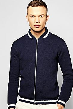 Knitted Bomber Jacket With Varsity Rib