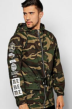 Camo Drawstring Hooded Parka with Sleeve Print