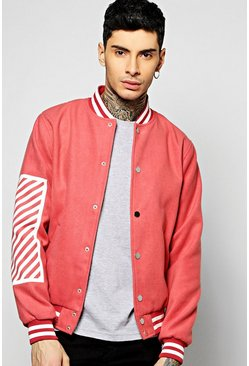 Melton Oversized Varsity Jacket With Print