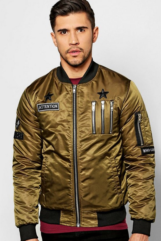 Multi Badged & Zipped MA1 Bomber