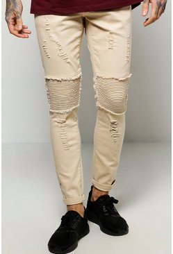Skinny Fit Heavy Distressed Biker Jeans