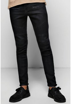 Super Skinny Fit Biker Jeans With Zip Pockets