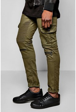 Skinny Fit Cargo Biker Jeans With Zips