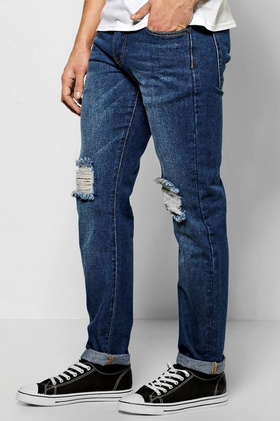 Slim Fit Raw Rigid Jeans With Distressing