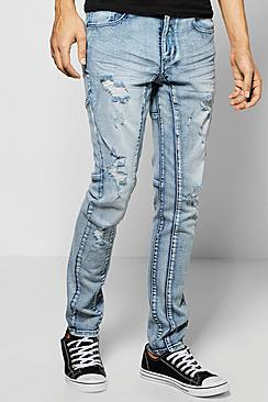 Super Skinny Fit Panelled Destroyed Jean