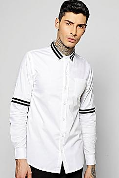 Slim Fit Gros Grain Striped Shirt
