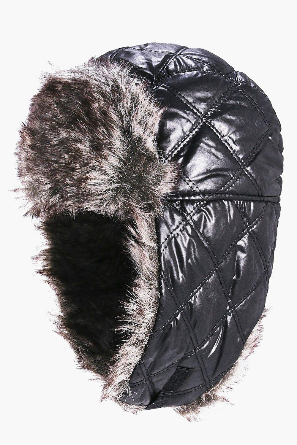 Faux Fur Trim Quilted Trapper